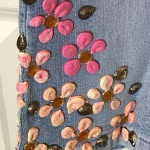 Ema Savahl Jeans - Ema Savahl_Couture_Painted Blue Jeans & Sheer Top